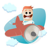 Funny businessman flying with a plane — Stock Vector