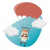 Funny businessman with parachute — Stock Vector