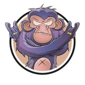 Angry cartoon chimp in a badge — Stock Vector