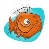 Funny cartoon goldfish — Stock vektor
