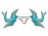 Couple of swallows is lifting underpants — Stock Vector