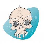 Creepy skull in sketchy style — Stock Vector
