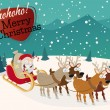 Funny christmas background with santa claus and reindeers — Stock Vector #57749181
