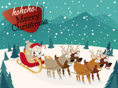 Funny christmas background with santa claus and reindeers — Stock Vector