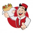 Funny cartoon man in a badge is serving kebab doner — Stock Vector #67103581