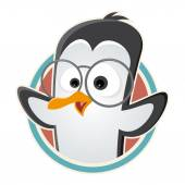 Funny cartoon penguin with glasses in a badge — Vecteur