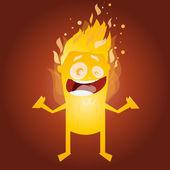 Funny burning man character — Stock Vector