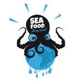 Giant cartoon octopus sitting on the earth — ストックベクタ
