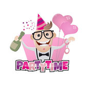 Funny bachelor party man — Stock Vector