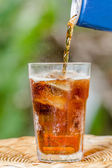 glass of cola with ice — Stok fotoğraf
