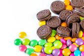 Candy sweet color and cookies — Stock Photo