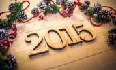 Wooden 2015 New year text — Stock Photo