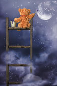 Teddy Painting At Night — Stock Photo