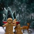 Gingerbread Family In Snow — Stock Photo #54343525