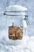 Cottage Snowglobe — Stock Photo