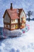 Winter Cottage In Gloved Hand — Stock Photo