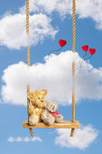 Teddies On Swing — Stock Photo