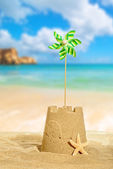 Sandcastle With Pinwheel — Foto de Stock