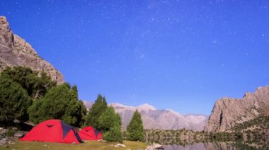 Moon illuminates mountains — Stock Video