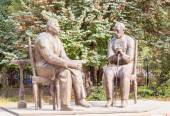 Monument to Soviet writers Aini and M. Gorky. Tajikistan. Dushan — Stockfoto