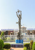 Monument in front of the terminal building. Airport. Dushanbe, T — Stock Photo