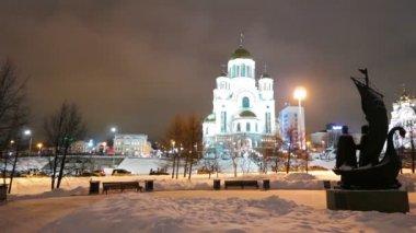 教会在冬季的血 — 图库视频影像