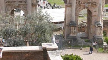 Roman Forum, Septimius Severus Arch. Rome, Italy — Stock Video