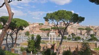 View from Capitol Hill, Via dei Fori Imperiali. Rome, Italy — Stock Video