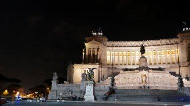 Vittoriano. Night. Rome, Italy — Stock Video