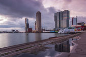 Rotterdam skyline at dusk — Stock Photo
