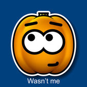 Vector Halloween Smiley Wasn't me — Stock Vector
