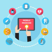 Mobile health with hand — Vecteur