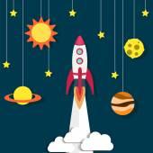 Paper rocket and planet, sun — Vector de stock