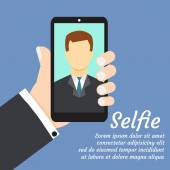 Selfie with smartphone on blue — Stock Vector