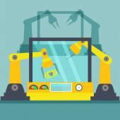 Yellow Robotic arms — Stock Vector