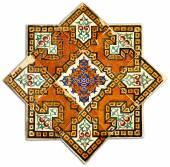 Ancient geometric tiled decor — Stock Photo