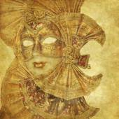 Rich golden Venetian Mask with musical decoration on floral grunge wallpaper — Stock Photo