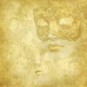 Máscara veneciana dorada de textura grunge floral — Foto de Stock