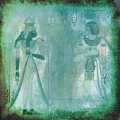 Ancient Egypt wallpaper with Queen Nefertiti and pharaoh — Stock Photo