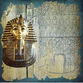 Tutankhamun and hieroglyphics texture — Stock Photo