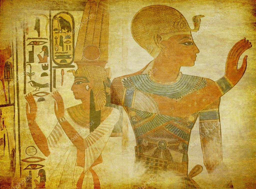 Ancient egypt paintings wallpaper stock photo for Ancient egyptian mural paintings