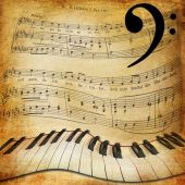 Warped piano and music sheet background — Stock Photo
