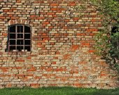 Old industrial building, brickwall and window — Stock Photo
