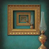 Surrealistic frames and oil lamp — Stock Photo
