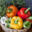 Peppers, lemons, garlic and aromatic herbs in the kitchen — Stock Photo #56693883