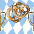 Oktoberfest, beer and pretzels and bavaria colors — Stock Photo #56850975