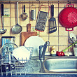 Постер, плакат: Kitchen tools hanging on the sink