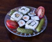 Sushi and Mediterranean flavors — Stock Photo