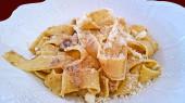 Mushroom noodles closeup — Stock Photo