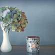 Постер, плакат: Hydrangea flower in vase and candle